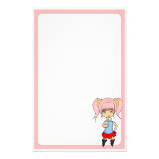 Pink Haired Chibi Rounded Stationery