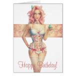 Pink Haired Cupcake Girl Birthday Card
