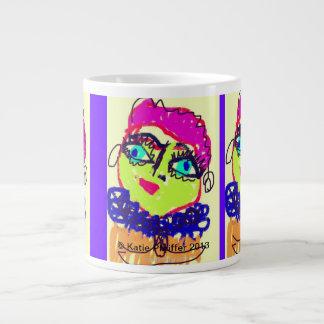 Pink Haired Doodle Lady Large Coffee Mug