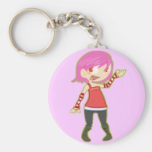 Pink Haired Girl Basic Round Button Keychain