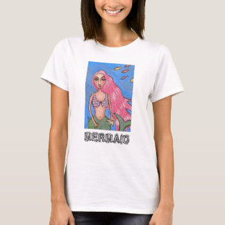 Pink-haired Mermaid & Fishies - t-shirt