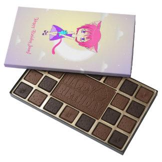 Pink Haired Neko Anime Girl, Chocolate Box