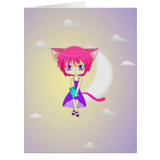 Pink Haired Neko Anime Girl, Greeting Card