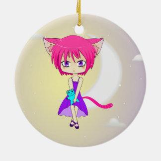 Pink Haired Neko Anime Girl, Ornament