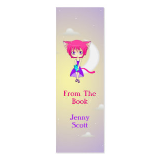 Pink Haired Neko Anime Girl, Skinny Card Bookmark Double-Sided Mini Business Cards (Pack Of 20)