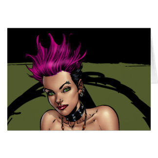 Pink Haired Punk Rock Alternative Girl by Al Rio Card
