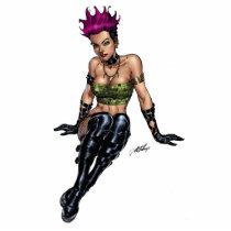 punk, alternative, anarchy, leather, boots, al rio, pink hair, purple hair, piercings, art, illustration, Photo Sculpture with custom graphic design