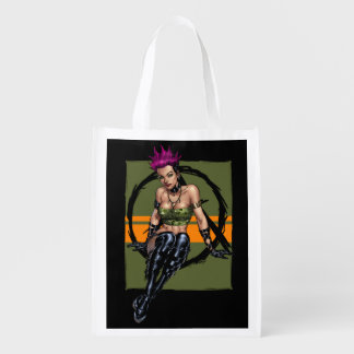 Pink Haired Punk Rock Alternative Girl by Al Rio Grocery Bags