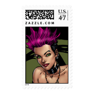 Pink Haired Punk Rock Alternative Girl by Al Rio Postage