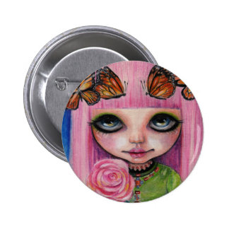 Pink haired Rose Blythe doll Button
