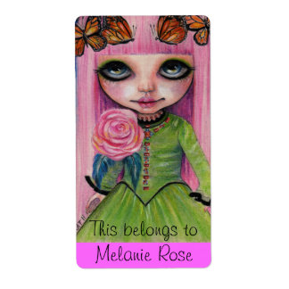 Pink haired Rose Blythe doll fan art Label