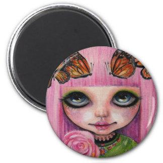 Pink haired Rose Blythe doll fan art Magnet