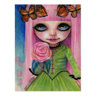 Pink haired Rose Blythe doll fan art Postcard