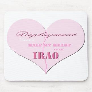 Pink Half Heart Deployment Iraq Mousepad