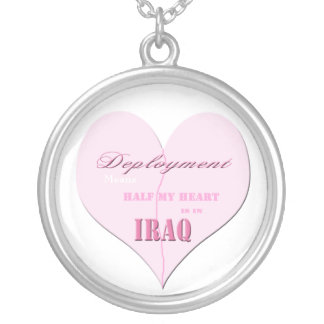 Pink Half Heart Deployment Iraq Necklace