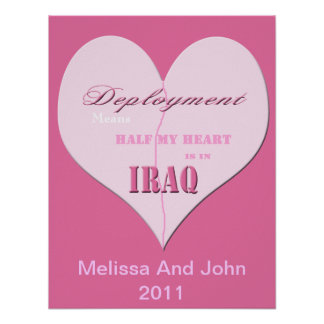 Pink Half Heart Deployment Iraq Poster