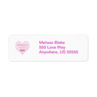 Pink Half Heart Deployment Iraq Return Adress Labe Return Address Label