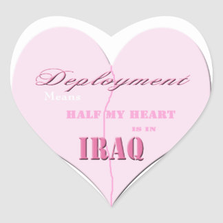 Pink Half Heart Deployment Iraq Stickers