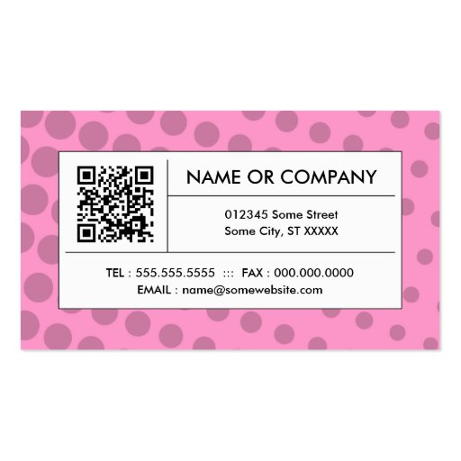 pink halftone QR code Business Cards