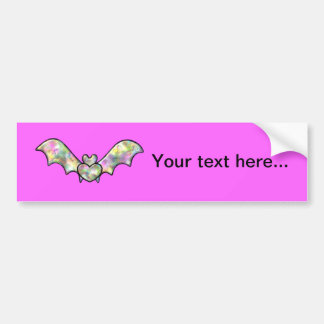 Pink Halloween Bat And Heart Bumper Sticker