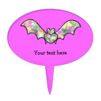 Pink Halloween Bat And Heart Cake Topper