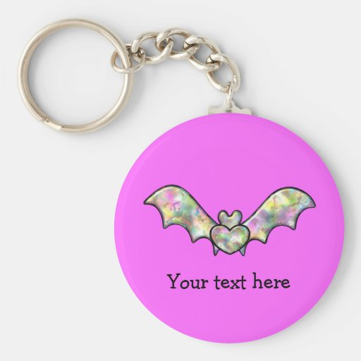 Pink Halloween Bat And Heart Keychain