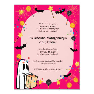 "Pink Halloween Birthday Costume Party Invitation 4.25"" X 5.5"" Invitation Card"