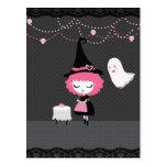 Pink Halloween Card Postcard