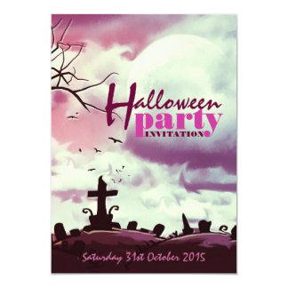Pink Halloween Full Moon Graveyard Invitation