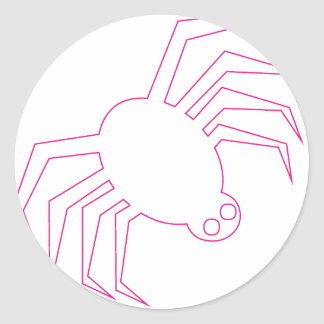 Pink Halloween Spider Classic Round Sticker