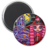 Pink Halloween Witch Magnet