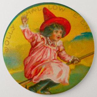 Pink Halloween Witch Pinback Button