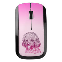 Pink Hand Drawn Dog Wireless Mac + PC Mouse