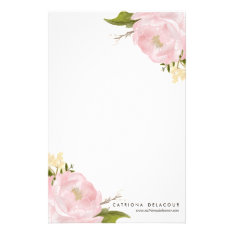 Pink Hand Drawn Watercolor Peonies Stationery at Zazzle