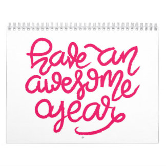 Pink Hand Lettered Inspirational Quotes Calendar