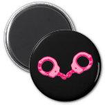 Pink Handcuffs 2 Inch Round Magnet