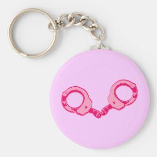 Pink Handcuffs Basic Round Button Keychain