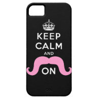 Pink Handlebar Mustache Keep Calm iPhone 5 Case