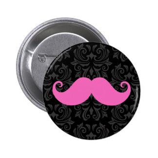 Pink handlebar mustache on black damask pattern 2 inch round button