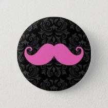Pink handlebar mustache on black damask pattern button