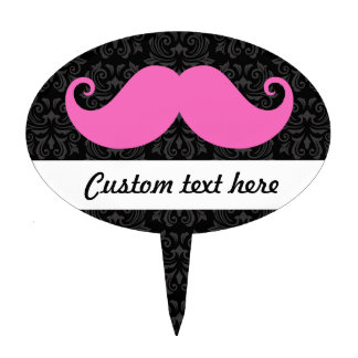 Pink handlebar mustache on black damask pattern cake topper