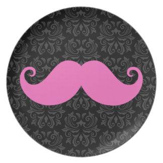Pink handlebar mustache on black damask pattern dinner plate