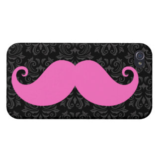 Pink handlebar mustache on black damask pattern iPhone 4/4S cases