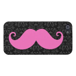 Pink handlebar mustache on black damask pattern iPhone SE/5/5s cover
