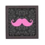 Pink handlebar mustache on black damask pattern keepsake box