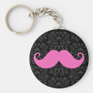 Pink handlebar mustache on black damask pattern keychain