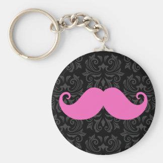 Pink handlebar mustache on black damask pattern key chains