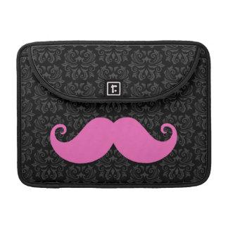 Pink handlebar mustache on black damask pattern sleeves for MacBooks