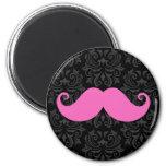 Pink handlebar mustache on black damask pattern magnets