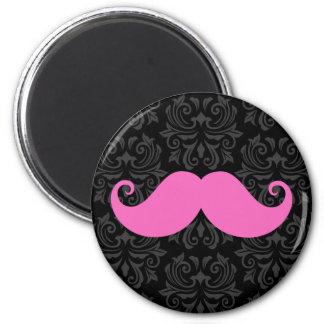 Pink handlebar mustache on black damask pattern magnet